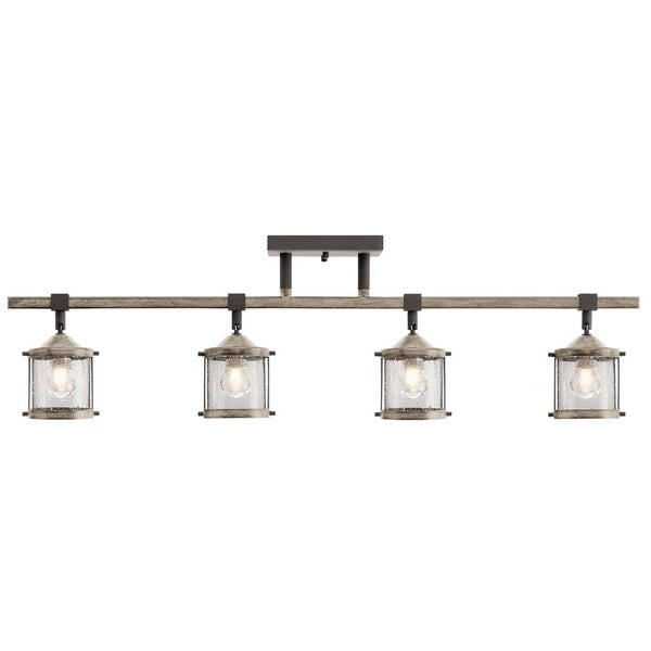Aztec 4-light Anvil Iron/Distressed Antique Grey Rail/Flush Mount Fixture. Opens flyout.