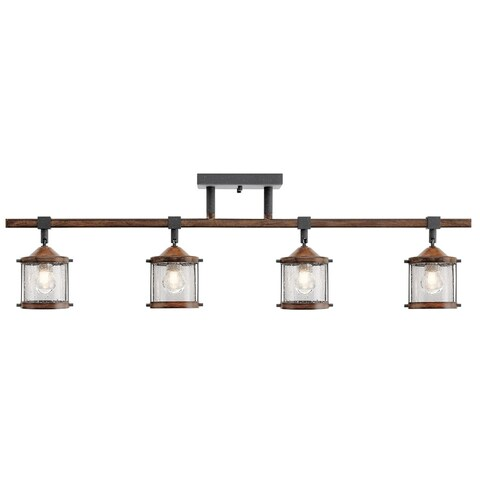 Aztec 4-light Distressed Black w/Aged Wood Rail/Flush Mount Fixture