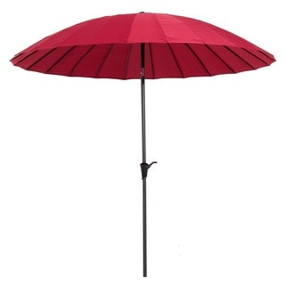 Outsunny 8.5' Aluminum Outdoor Patio Umbrella 24 Ribs with Tilt and Crank - Dark Red
