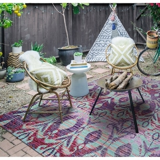 "Paradise Jardin Purple Indoor/Outdoor Area Rug - 3'11"" x 5'6"""