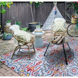 "Paradise Neiva Light Blue Indoor/Outdoor Area Rug - 5'10 x 9'2"""