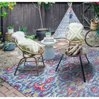 Paradise Neiva Blue Indoor/Outdoor Area Rug - 5'10 x 9'2""