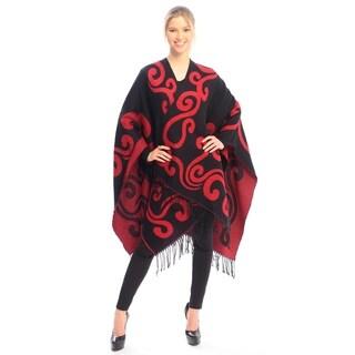 BYOS Womens Winter Reversible Swirl Pattern Open Front Shawl Warp Ruana