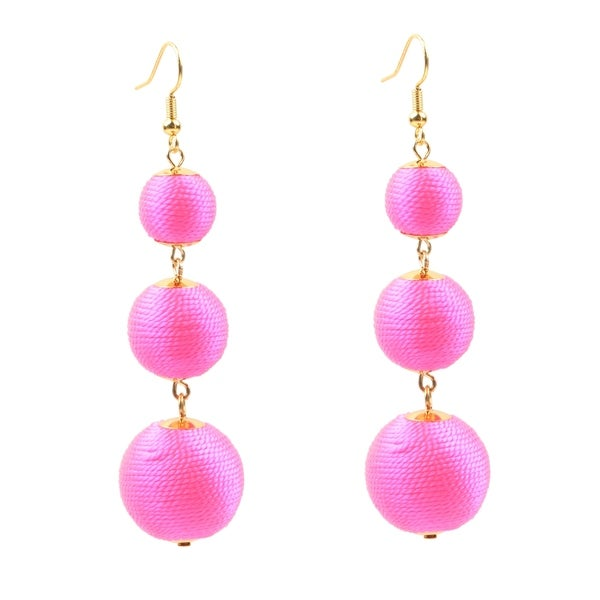 24k Gold Plated Hot Pink Bauble Drop Earring
