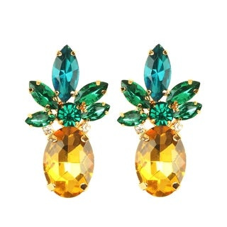 Pineapple 24K Gold Plated Stone Statement Earring