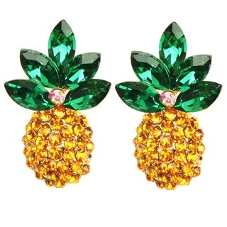 Pineapple 24K Gold Plated Petite Stone Statement Earring