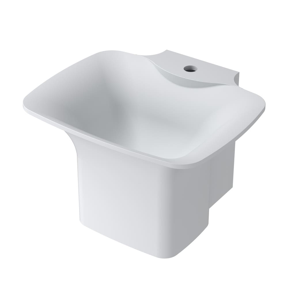 20Polystone Circular Wall-Mount Sink in Glossy or Matte White Finish-No Faucet (ws-ws-n2-g - Glossy)