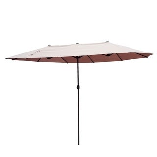 Outsunny 15' Market Outdoor Umbrella Double-Sided Aluminum Table Patio Umbrella with Crank - Tan