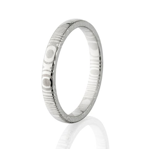 Authentic Damascus Steel Wedding Bands USA Made Rings Damascus Rings 3mm Wide Band - Silver