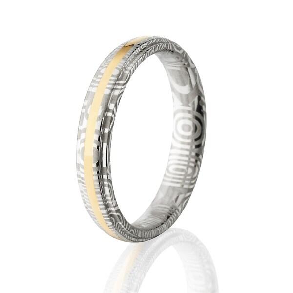 Shop Damascus Steel Wedding Bands Usa Made 14k Gold Rings Damascus