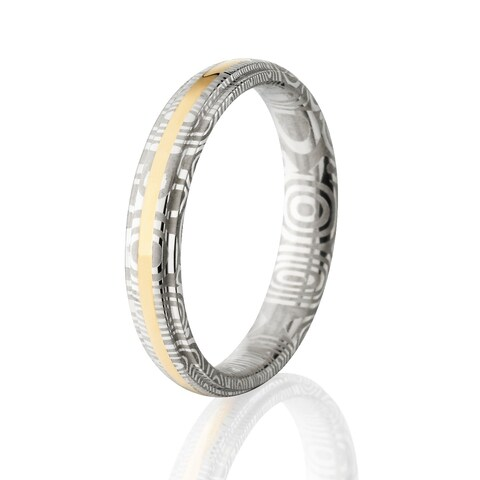 Damascus Steel Wedding Bands USA Made 14k Gold Rings Damascus Rings - Silver
