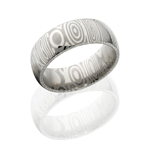 Authentic Damascus Steel Wedding Bands USA Made Rings Damascus Rings 9mm Wide Band - Silver