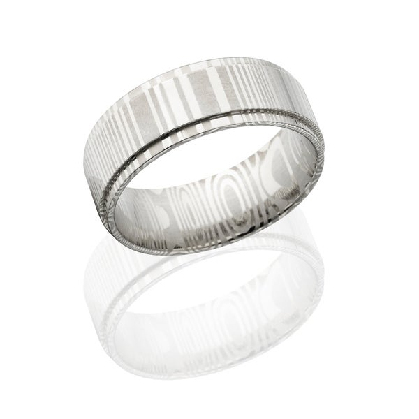 Authentic Damascus Steel Wedding Bands USA Made Rings Damascus Rings 8mm Wide Band - Silver