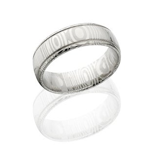 Authentic Damascus Steel Wedding Bands USA Made Rings Damascus Rings 7mm Wide Band - Silver