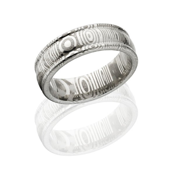 Authentic Damascus Steel Wedding Bands Usa Made Rings 7mm Wide Band Silver