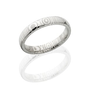 Damascus Steel Wedding Bands USA Made Rings Damascus Rings 4mm Wide Band - Silver
