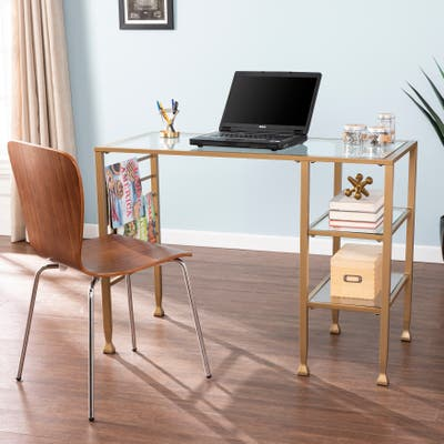 None Amelie Gold Metal/Glass Writing Desk