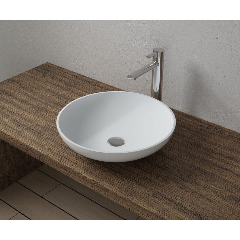 16x16 Polystone Round Vessel Bathroom Sink with Overflow in Glossy or Matte Finish-No Faucet (ws-vs-vp2-mattewhite)