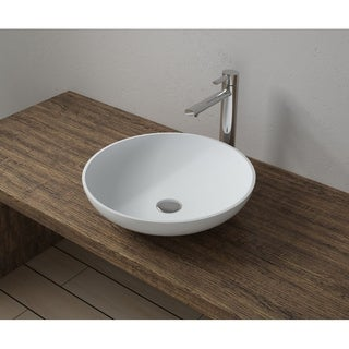 """16""""x16"""" Polystone Round Vessel Bathroom Sink with Overflow in Glossy or Matte Finish-No Faucet"""