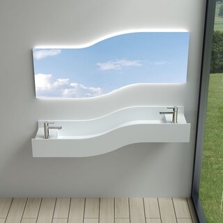 "55""Polystone Left Wave Wall-Mount Sink in Glossy or Matte White Finish-No Faucet"
