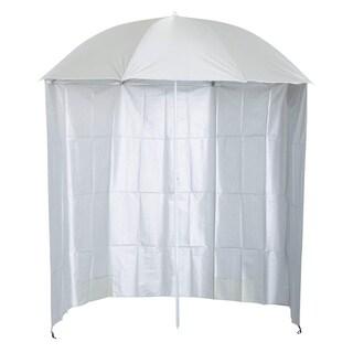 Outsunny 7.2' Outdoor Beach Sun Umbrella with Removable Side Curtain - Cream White