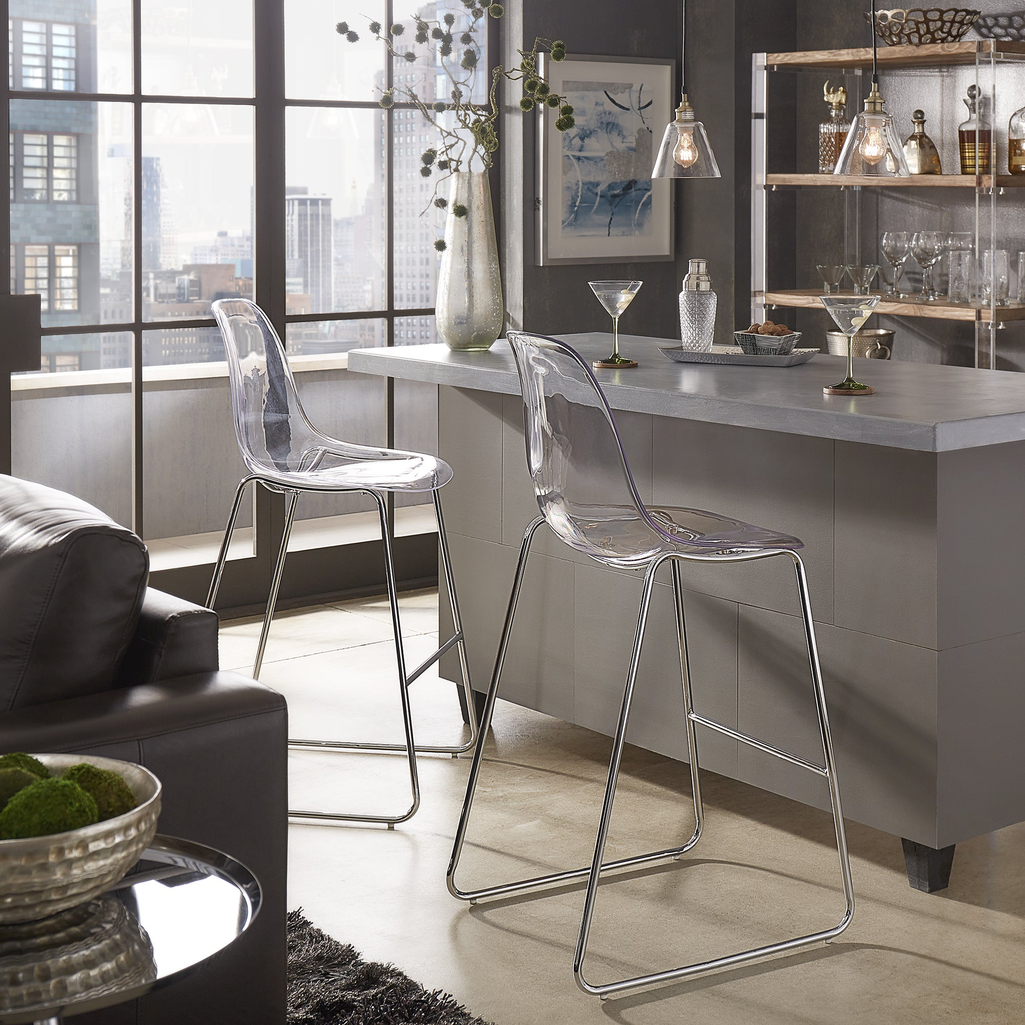 Nash Minimalist Acrylic Stools with Metal Legs (Set of 2) by iNSPIRE Q Modern (short)