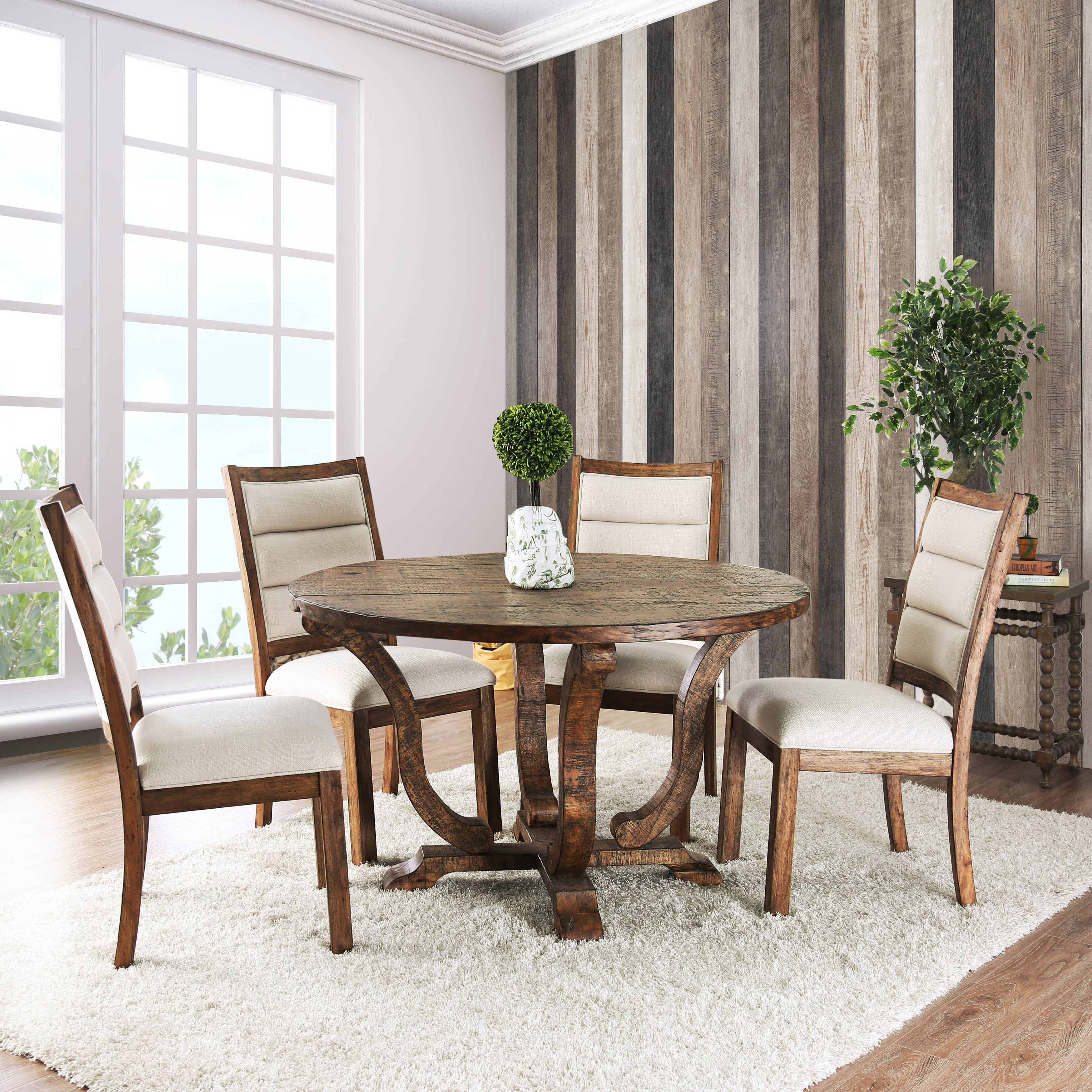 Furniture of America Fon Rustic 52-inch Solid Wood Round Dining Table