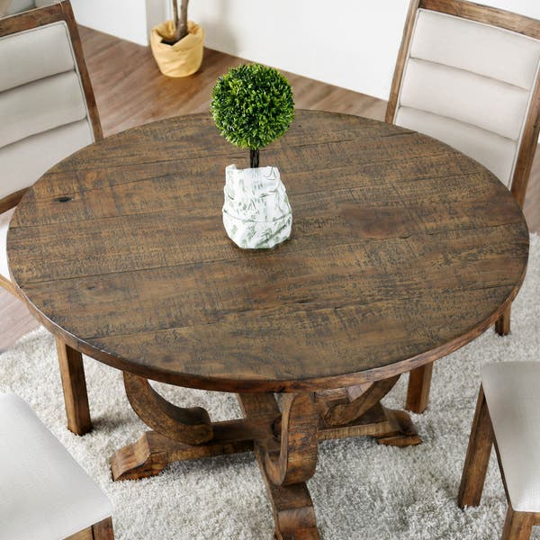 Furniture Of America Fon Rustic 52 Inch Solid Wood Round Dining Table On Sale Overstock 22366959