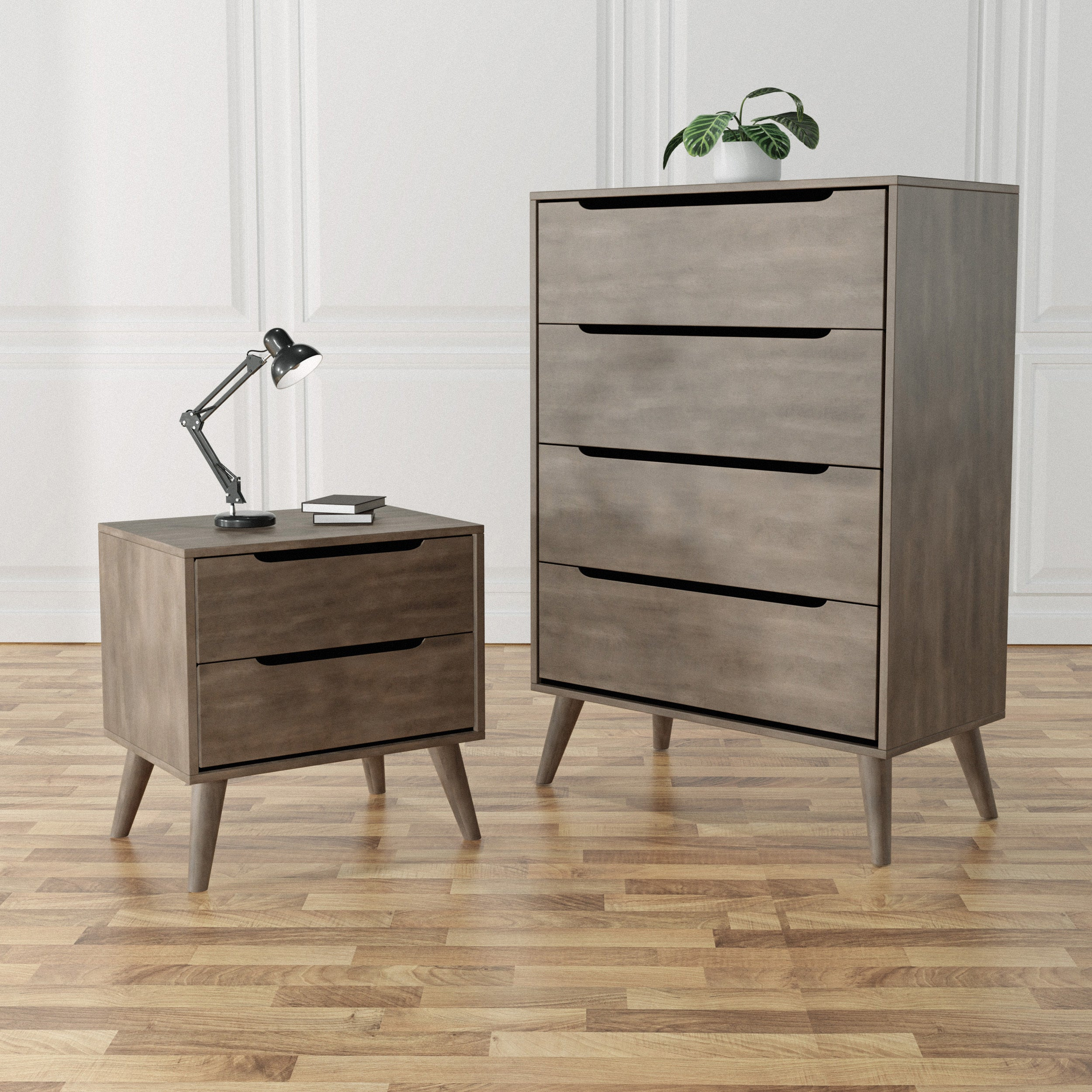 Furniture Of America Fopp Grey 2 Piece Chest And Nightstand Set