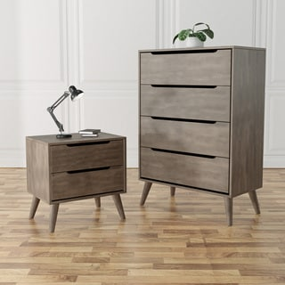 Furniture of America Fopp Grey 2-piece Chest and Nightstand Set
