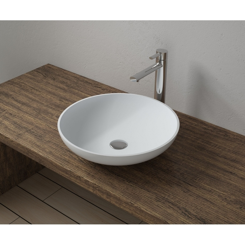 17x17 Polystone Round Vessel Bathroom Sink with Overflow in Glossy or Matte Finish-No Faucet (ws-vs-vp3-mattewhite)