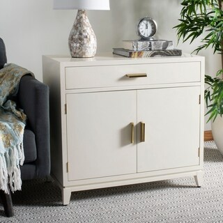Safavieh Nigel 2 Door 1 Drawer Chest - White / Brass