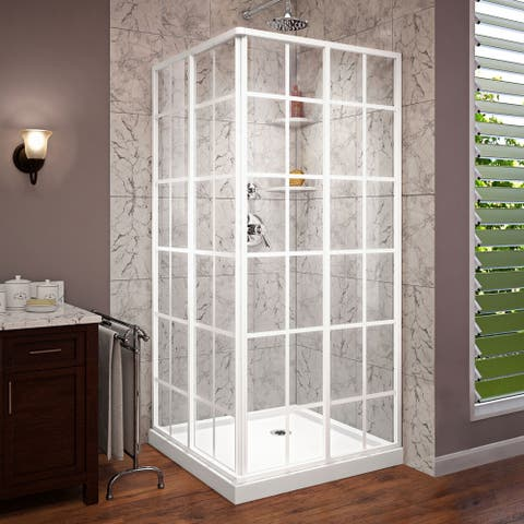 "DreamLine French Corner 36 in. D x 36 in. W x 74 3/4 in. H Sliding Shower Enclosure and Shower Base Kit - 36"" x 36"""