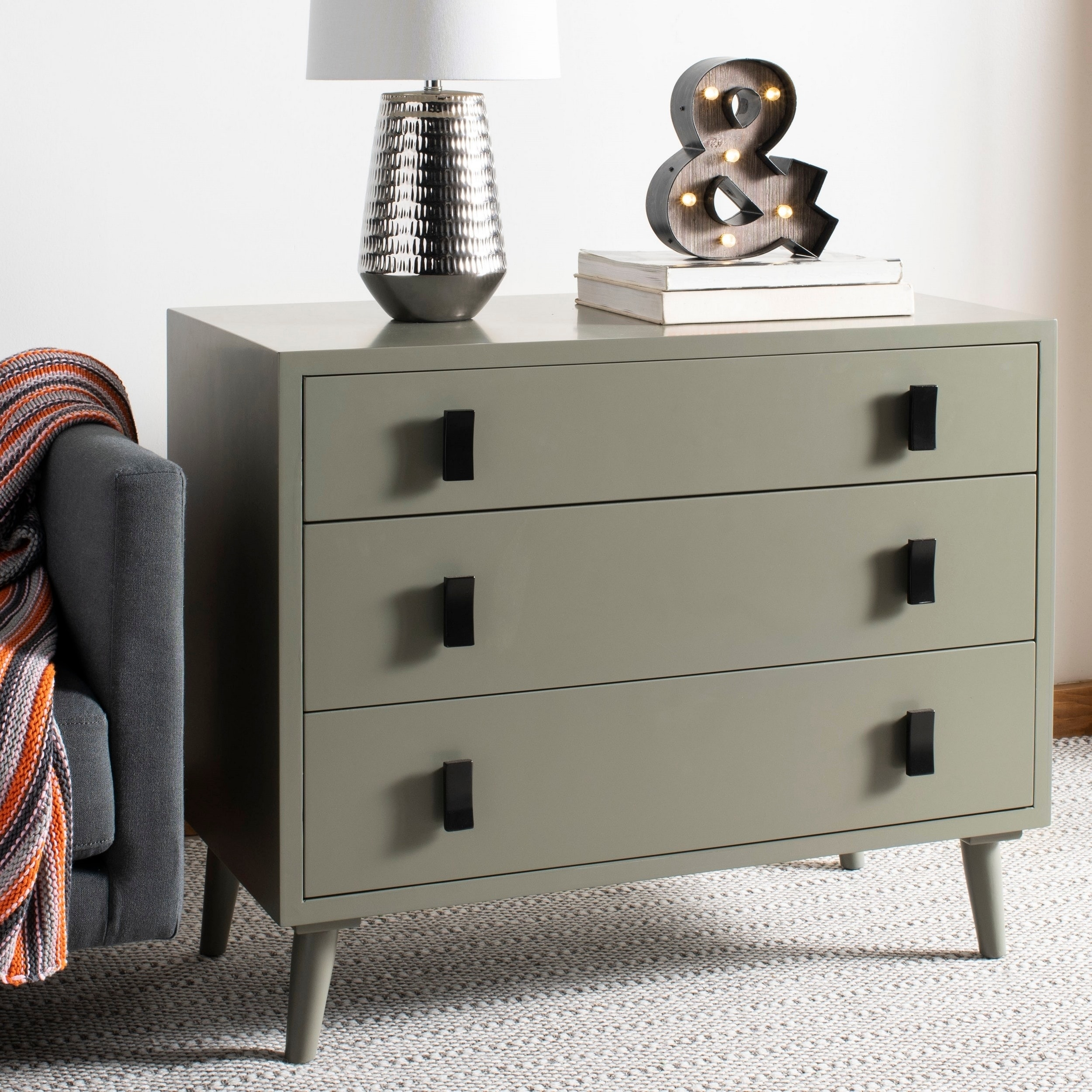 Safavieh Blaize 3 Drawer Chest - Dark Grey / Black
