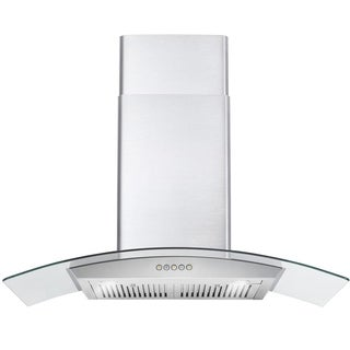 36 in. Ducted Wall Mount Range Hood in Stainless Steel with Push Button Control, LED Lighting and Permanent Filters