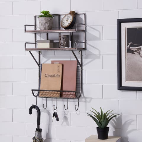Pocono Gray Entryway Floating Shelf Wall Organizer