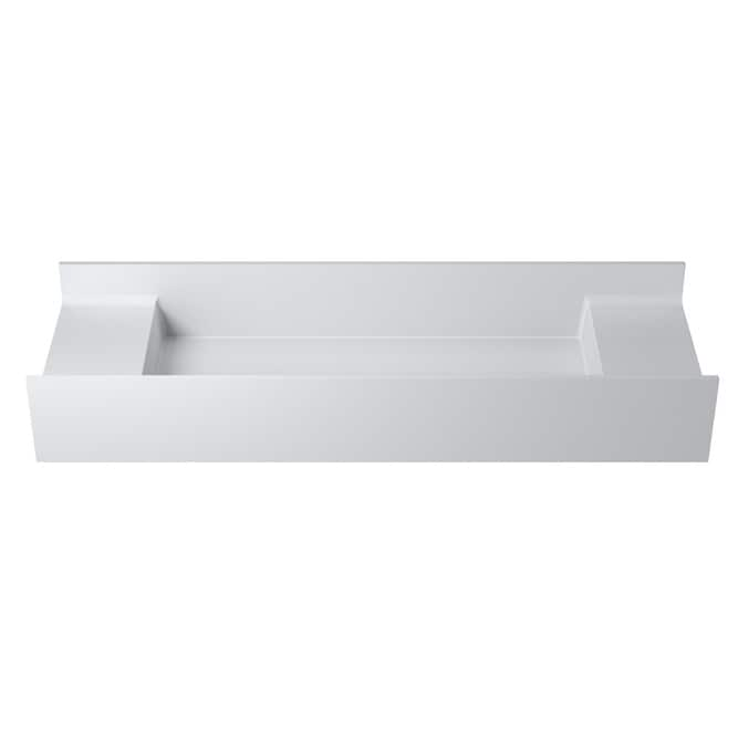 47Polystone Rectangular Wall-Mount Sink in Glossy or Matte White Finish-No Faucet (ws-ws-v65-m - Matte)