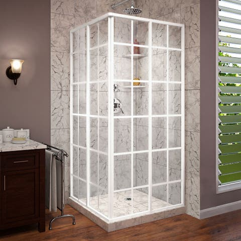 "DreamLine French Corner 34 1/2 in. D x 34 1/2 in. W x 72 in. H Framed Sliding Shower Enclosure - 34.5"" x 34.5"""