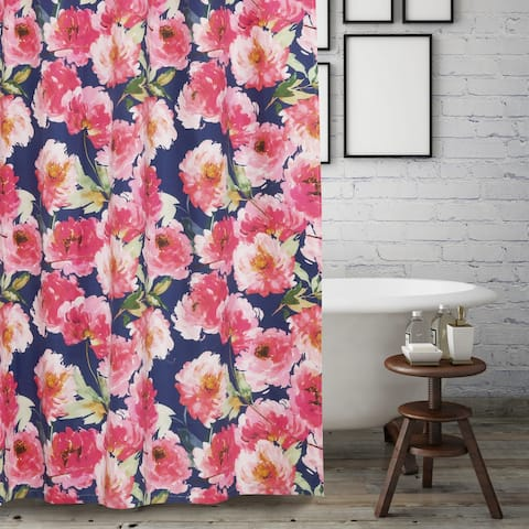 Barefoot Bungalow Peony Posy Shower Curtain, Navy