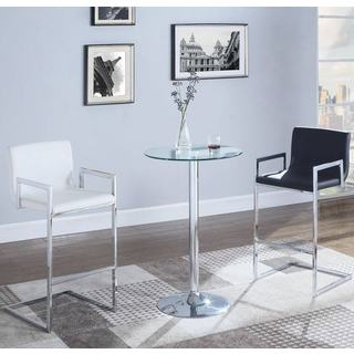 Modern Sleek Design 3-piece Bar Set with Tampered Glass Top