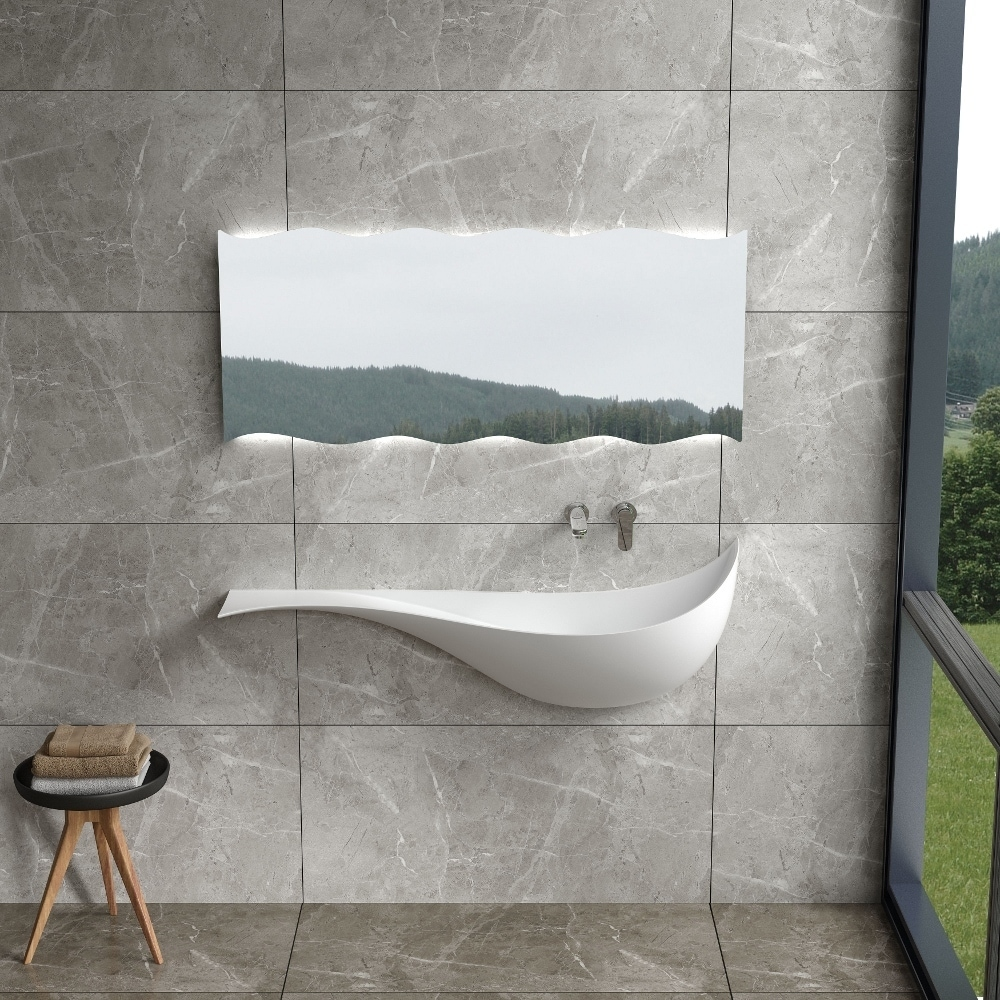 47Polystone Mermaid Style Wall-Mount Sink in Glossy or Matte White Finish-No Faucet (ws-ws-vp10-g - Glossy)