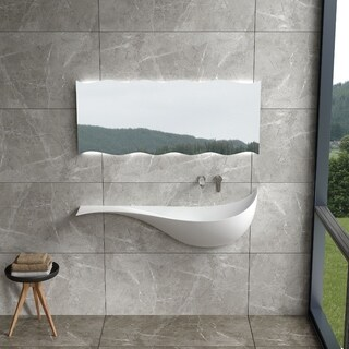 "47""Polystone Mermaid Style Wall-Mount Sink in Glossy or Matte White Finish-No Faucet"