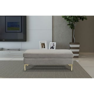 Silver Orchid Berle Grey Large Velvet Decorative Bench