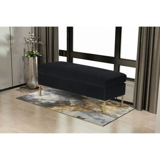 Silver Orchid Berle Grey Large Velvet Decorative Bench (Black)