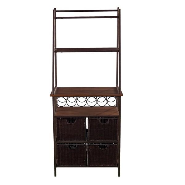 Wine Rack 3-Shelves Kitchen Dining Room Gunmetal Metal Baker Storage Station