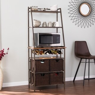 Harper Blvd Archie Metal Bakers Rack w/ Wine Storage and Baskets - N/A
