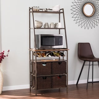 Harper Blvd Archie Metal Bakers Rack w/ Wine Storage and Baskets