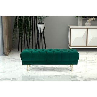 HomePop Downing Emerald Velvet Large Decorative Bench with Button Tufting