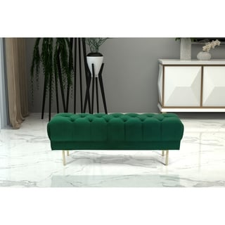 HomePop Downing Emerald Velvet Large Decorative Bench with Button Tufting (Green)