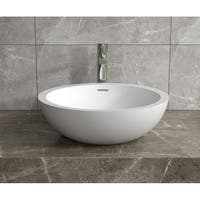 """18""""x18""""Polystone Round Vessel Bathroom Sink in Glossy or Matte White Finish-No Faucet"""